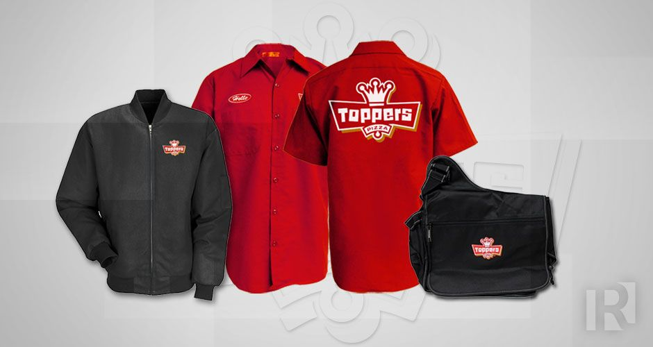 0d016b4c Toppers Pizza #uniform program. Men's and Ladies styles, jackets, hats, and  a 100% Custom messenger bag.