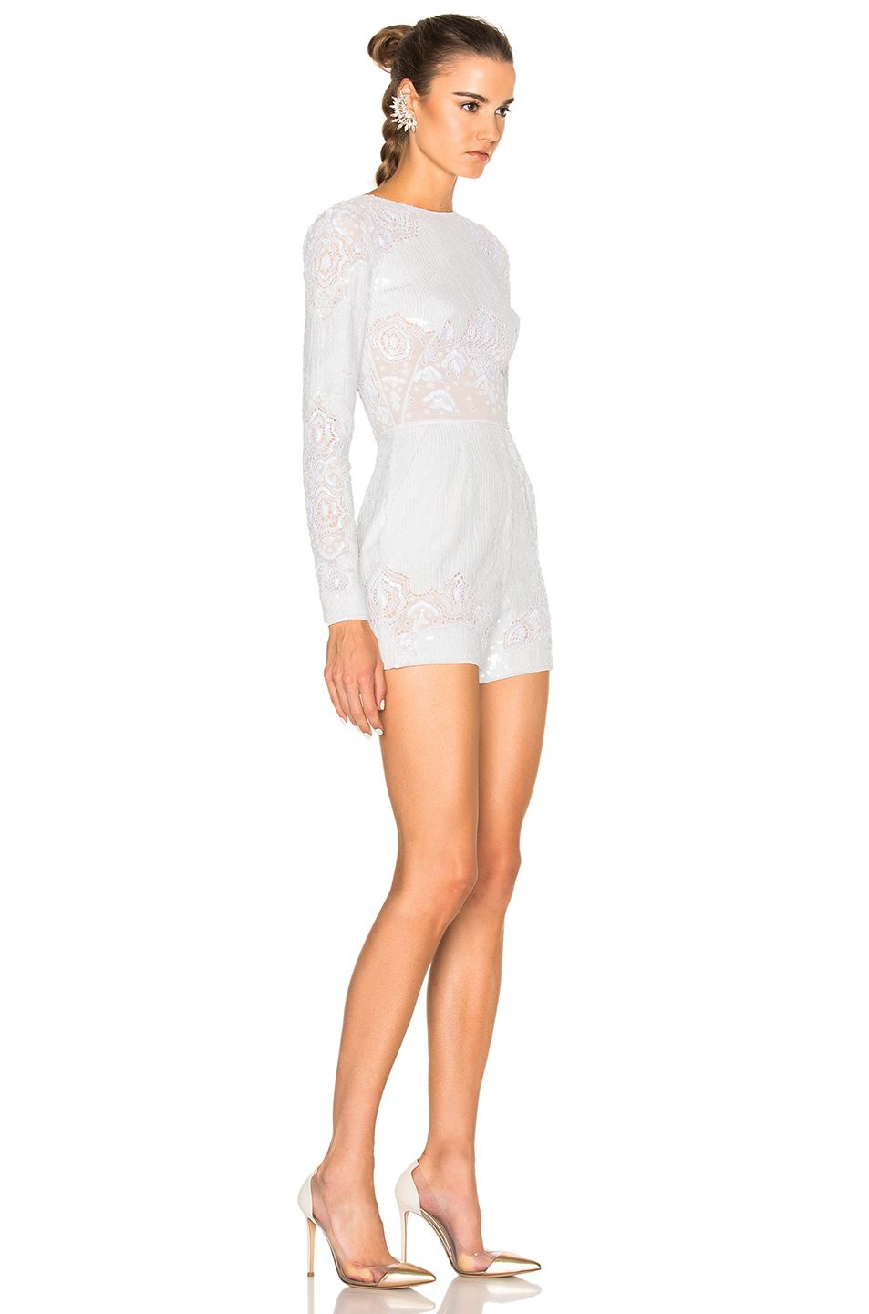 Image 3 of Zuhair Murad Long Sleeve Embroidered Romper in Bright White