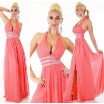 35bf0e53e548 Plesové šaty korálové dlouhé s kamínky ST138