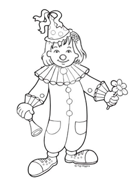 olivia clown colouring page