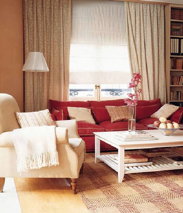 Living Room Decorating Ideas Red Sofa gold and red living room with puzzle shelving | metropolitan