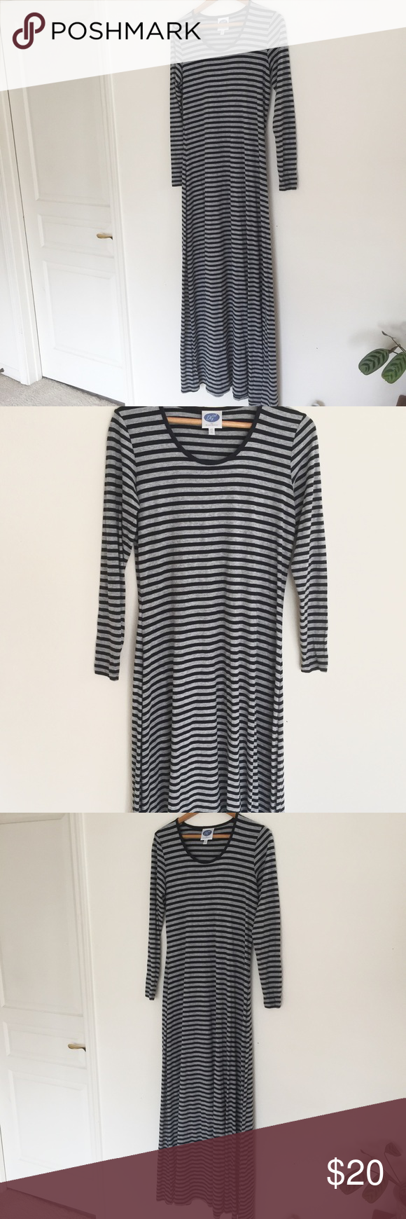 Black and grey striped long sleeved maxi dress long sleeve maxi