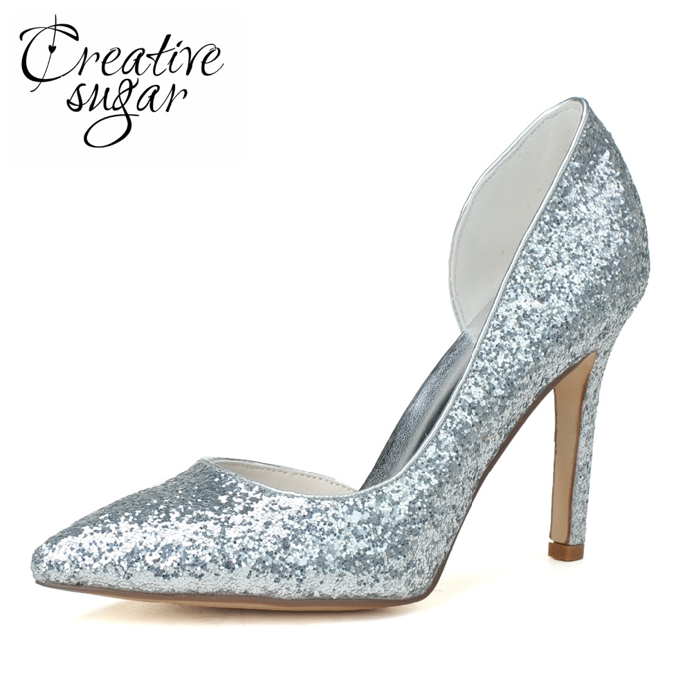 42.90  Watch now - Creativesugar lady s pointed toe D orsay 3D glitter pumps  gold silver metallic high heels party prom night club evening shoes   ... dff1b2f9ac8e