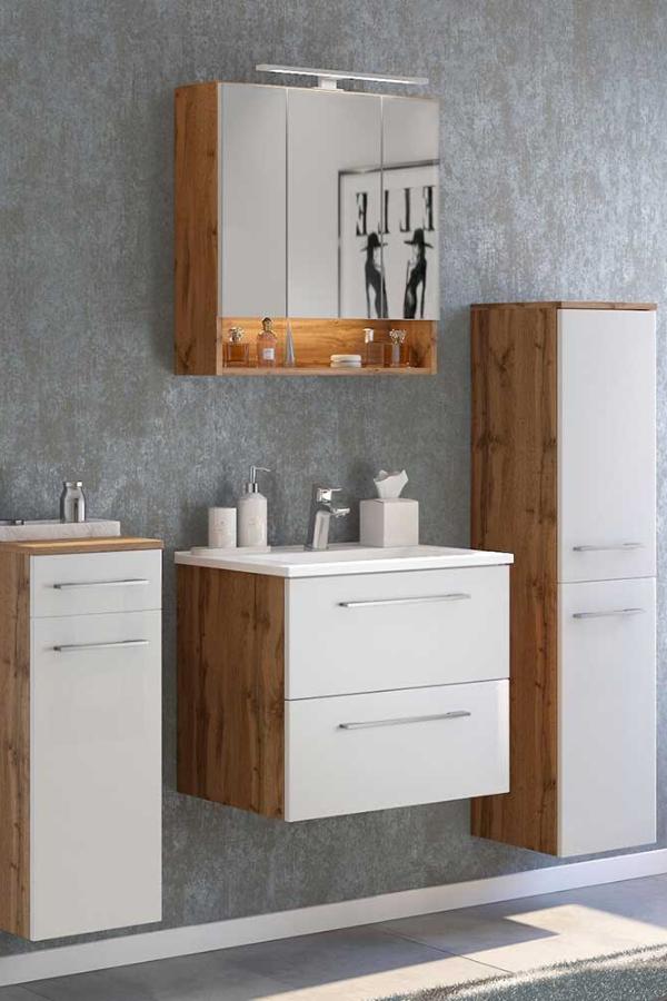 Badezimmerset Vidorella In Weiss Und Wildeiche Optik 120 Cm Breit In 2020 Spiegelschrank Led Badezimmer Badezimmer Set