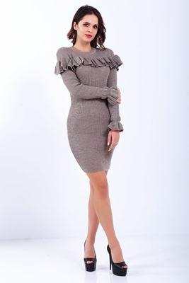 5da73838c7eae Detayları Göster Yaka Kol Fırfır Detay Çizgili Toprak Triko Elbise ...