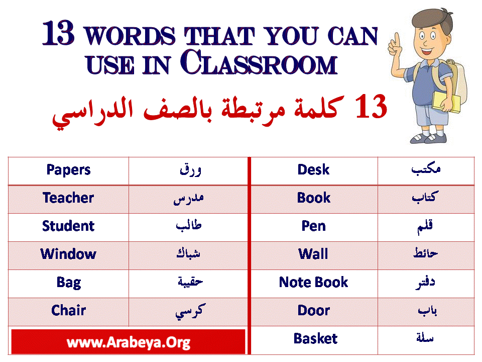 13 Words That You Can Use In Classroom Learning Arabic Learn English Words Words