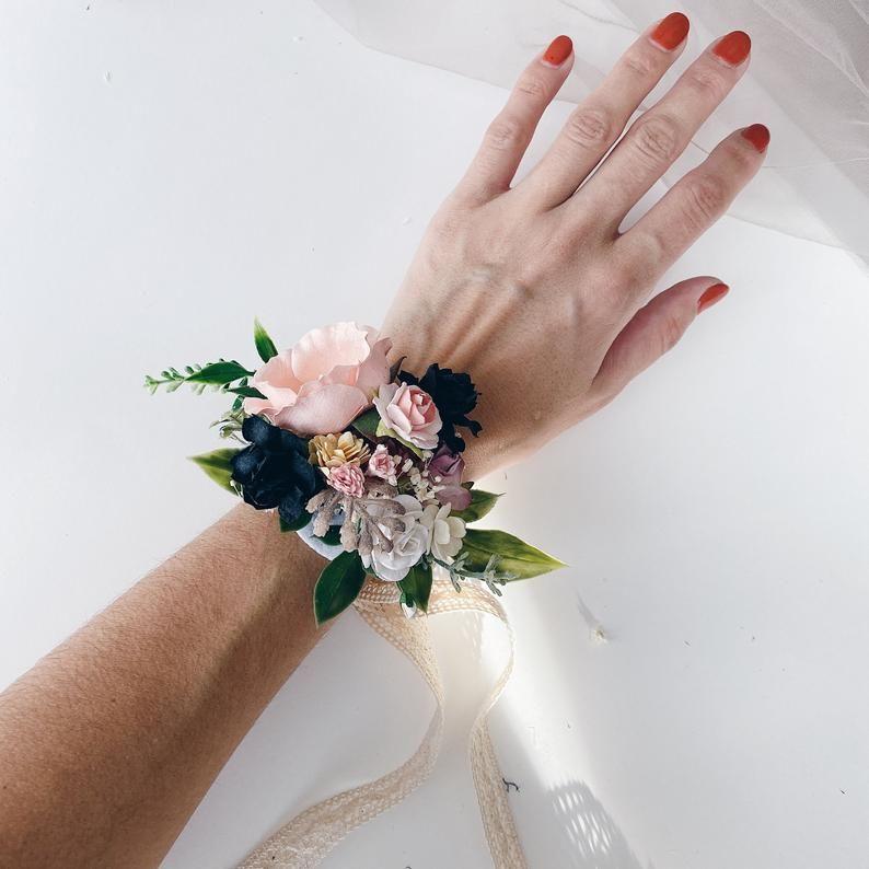 Black Black and blush pink flower corsage Floral wrist corsages Bridesmaids corsages blush pink wrist corsages Wedding bracelets