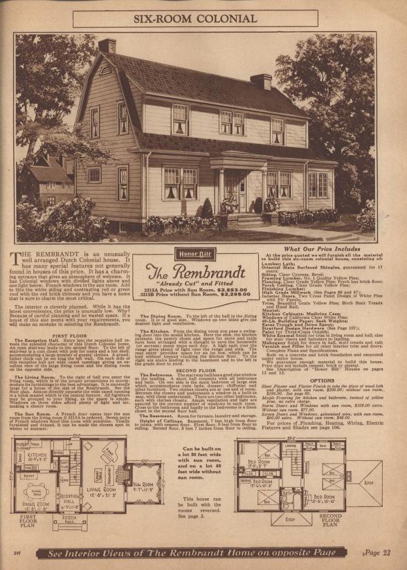 Sears Rembrandt 1924 1925 P3215a P3215b 1926 P3215a P3215b 1927 Similar To The Van Jean Gambrel Roof Modern House Dutch Colonial