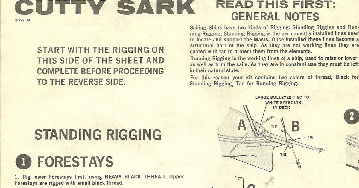 Here Are The Rigging Instructions For The Revell Cutty Sark H 399