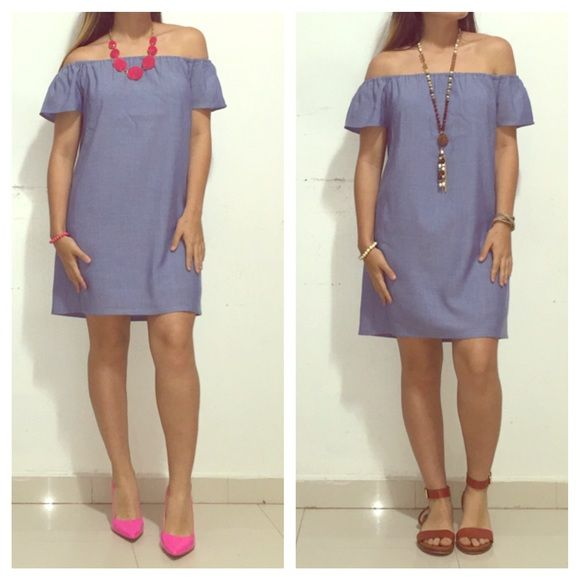"""Carmine Off Shoulder Dress✨ ❣ 100% Rayon Chambray Dress ❣ Fully lined ❣About 28"""" from neckline to hem (small) ❣ Atid Clothing Dresses Strapless"""