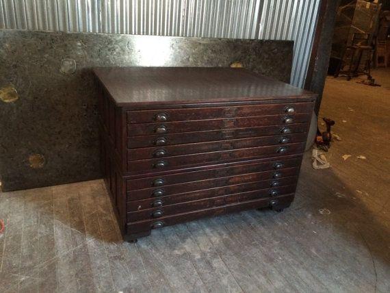 Vintage 10 drawer oak wood flat file blueprint by cosaslighting vintage 10 drawer oak wood flat file blueprint by cosaslighting malvernweather Gallery