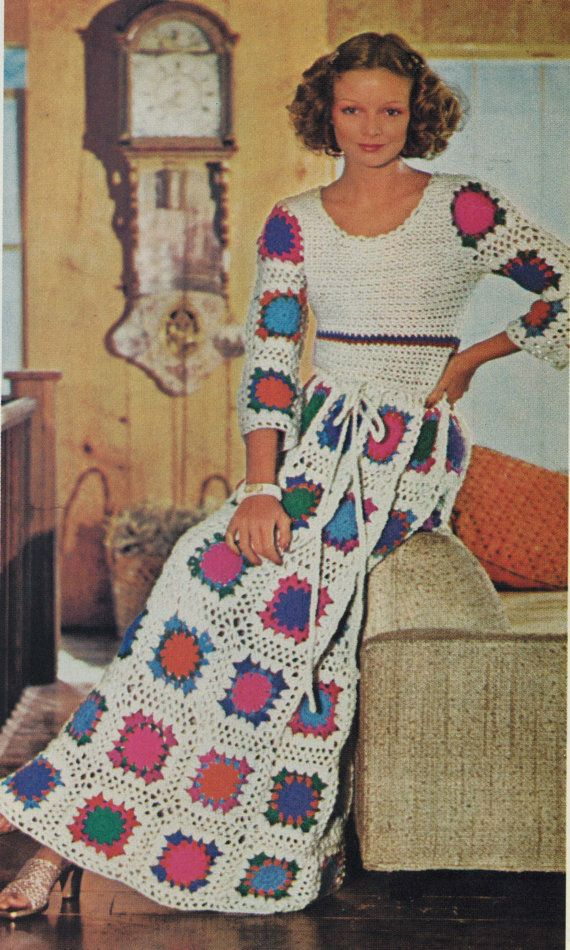 PDF Crochet Pattern Vintage 1970s Maxi Gown Granny Square Motif Instant Download on Etsy, $3.91 CAD