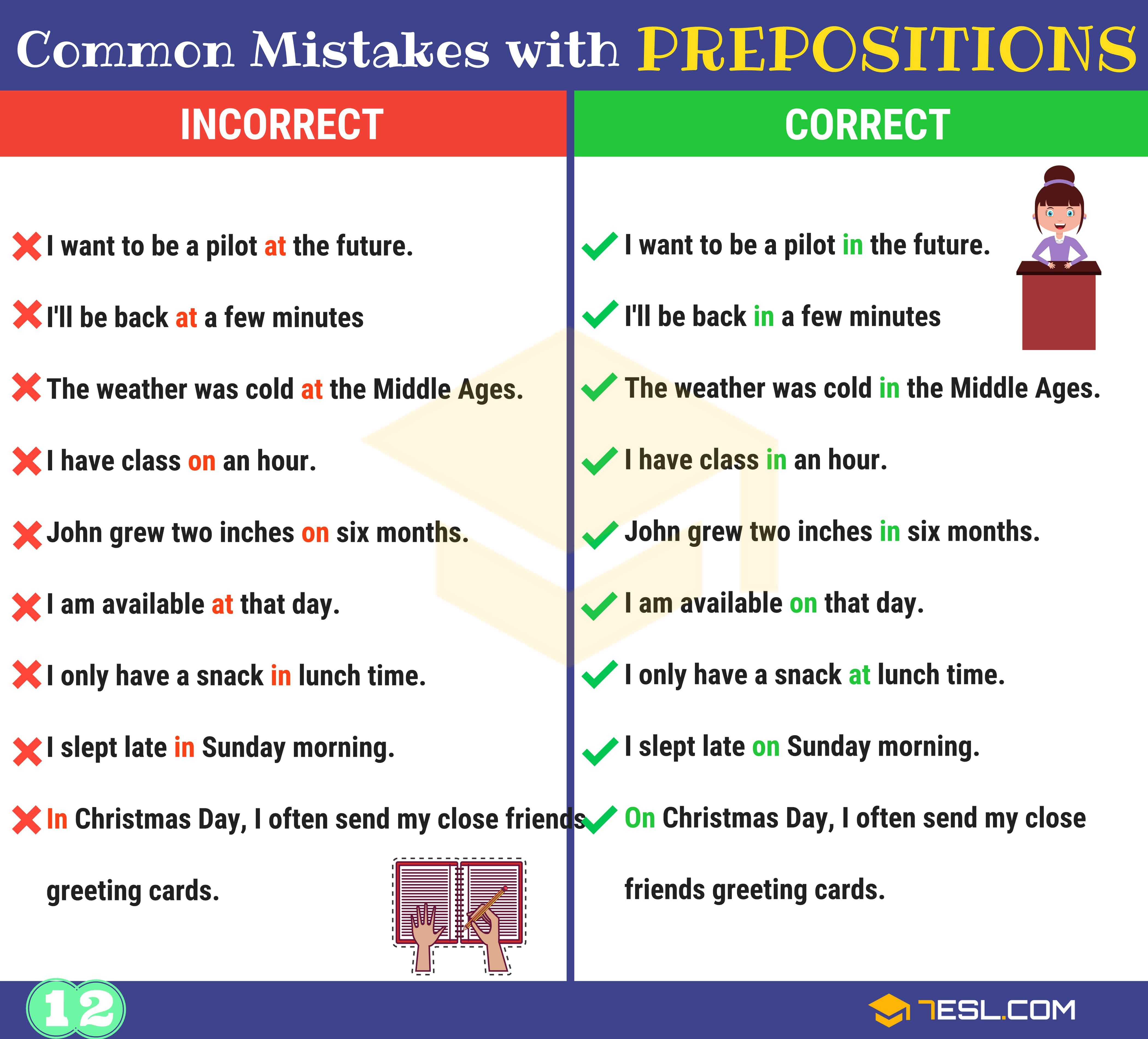 Preposition Errors 130 Common Mistakes With Prepositions 7 E S L Prepositions Learn English Teaching English Grammar