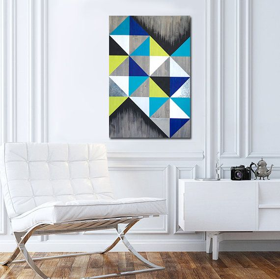 Modern Wood Metal Wall Art Handcrafted In South Florida Mod Cubism Size 16x24 With Gray Stain And Vibrant Acrylic Paint Colors