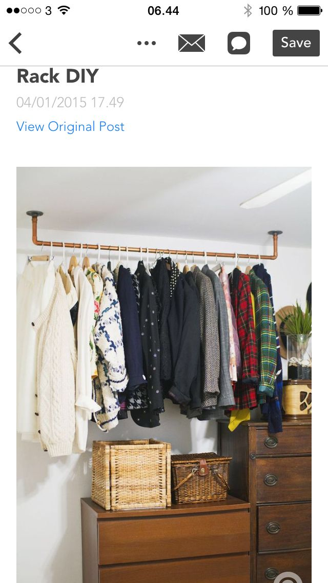 Hanging Copper Pipe Clothing Rack DIY I Like This Idea For Our Spare Room,  For Our Coats And For Guest Clothing.since Thereu0026 No Closet.
