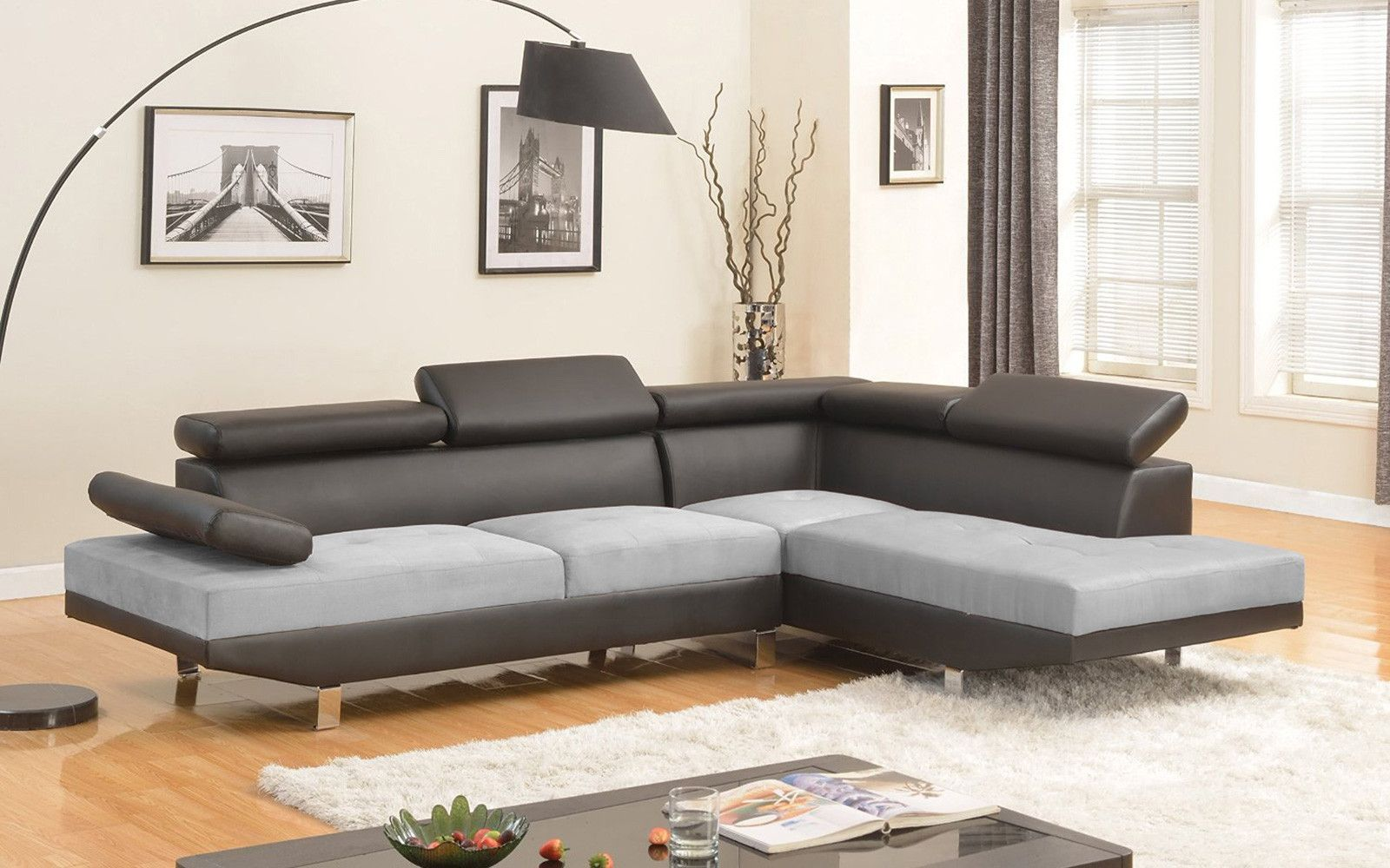 2 Piece Modern Microfiber and Bonded Leather 2 Tone Sectional Sofa ...