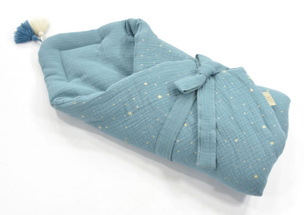 Rozek Muslinowy 70x70 Cm C Zgaszony Niebieski Lilushop Throw Pillows Pillows Bucket Bag