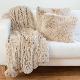Decorative Long 18inch Poly or Down Filled Throw Pillow Fur