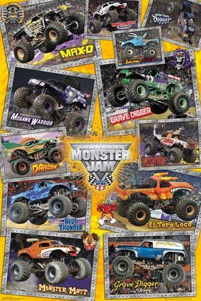Monster Jam Trucks Poster 61x91cm New Grave Digger Mutt Max D Dragon Mohwak Monster Trucks Monster Jam Monster Truck Theme Party