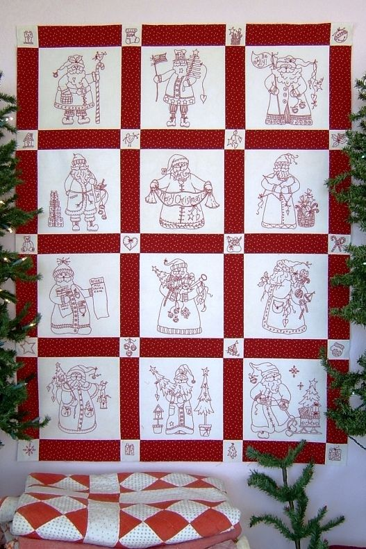 Embroidery Patterns For Quilt Squares : 12 Jolly old RedWork Santa blocks plus 20 more cornerstone designs that make terrific ornaments ...