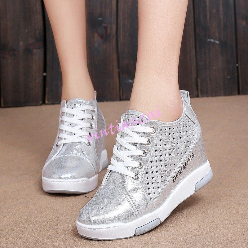 New Womens Hollow Out Sports Shoes Sneakers Breathable Hidden Heel Round Toe Hot