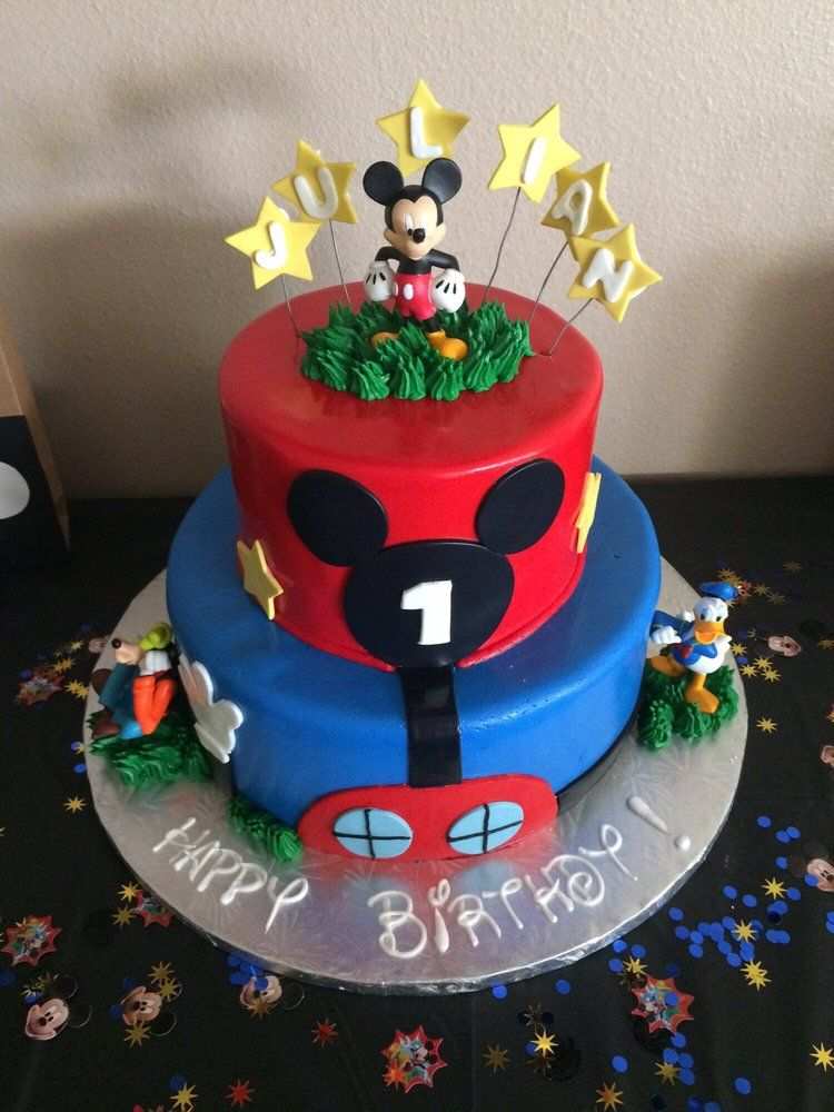 """""""Happy Birthdy!"""" - 2 tier cake, feeds ~30, $150, chocolate with chocolate buttercream.   Yelp"""