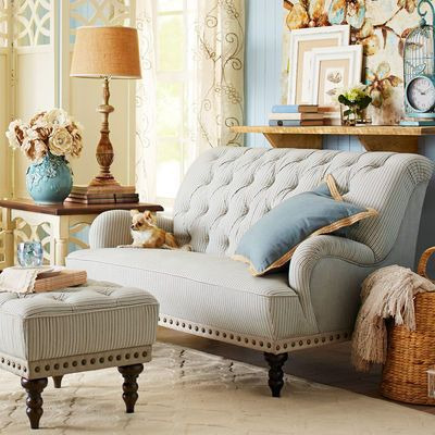 Chas Blue Amp White Seersucker Loveseat In 2019 Home Decor