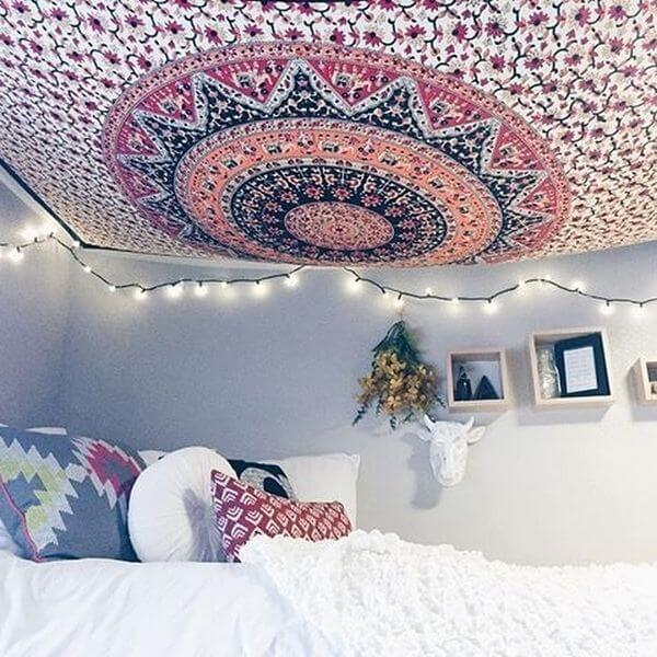 How To Hang A Tapestry From The Ceiling In 4 Steps Yoga Mandala Shop Boho Room Bedroom Inspirations Dorm Decorations