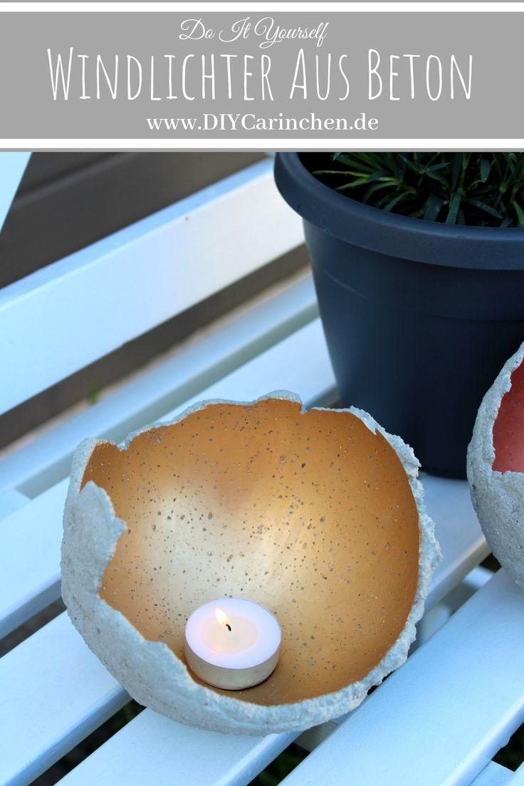 DIY Windlichter aus Beton ganz einfach selber machen - die perfekte Gartendeko - DIYCarinchen