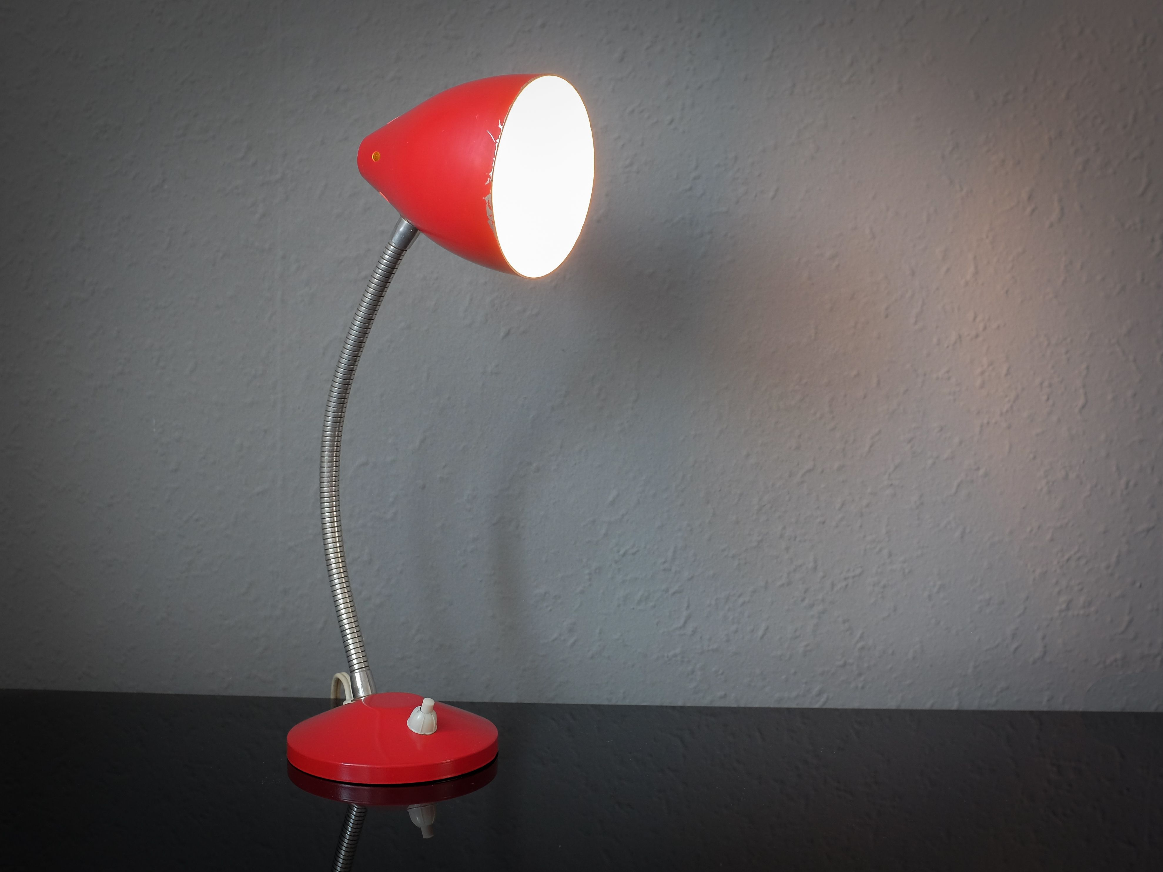Add a touch of vintage to your office. A lovely red, metal