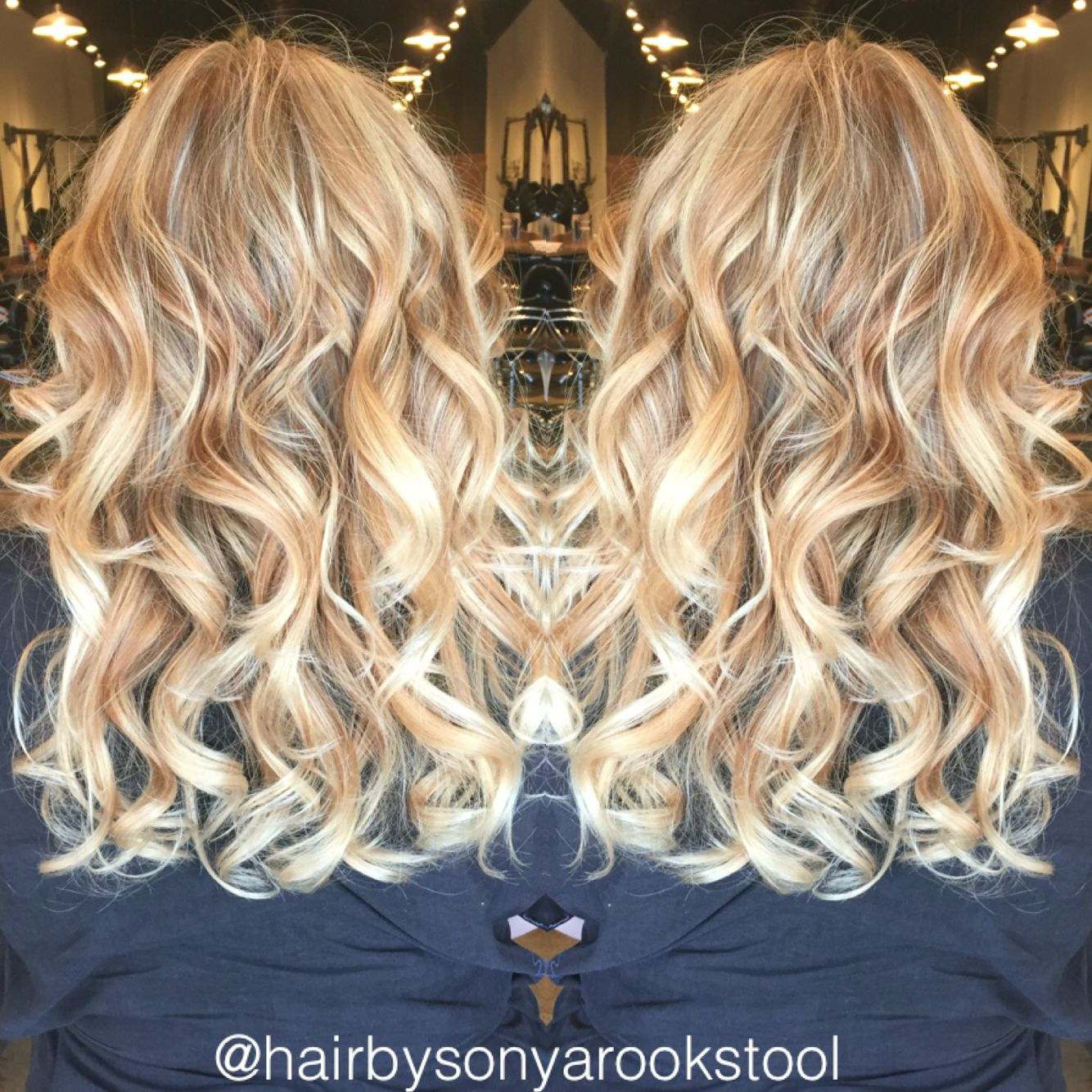 Golden blonde base color with bright blonde baby lights ...