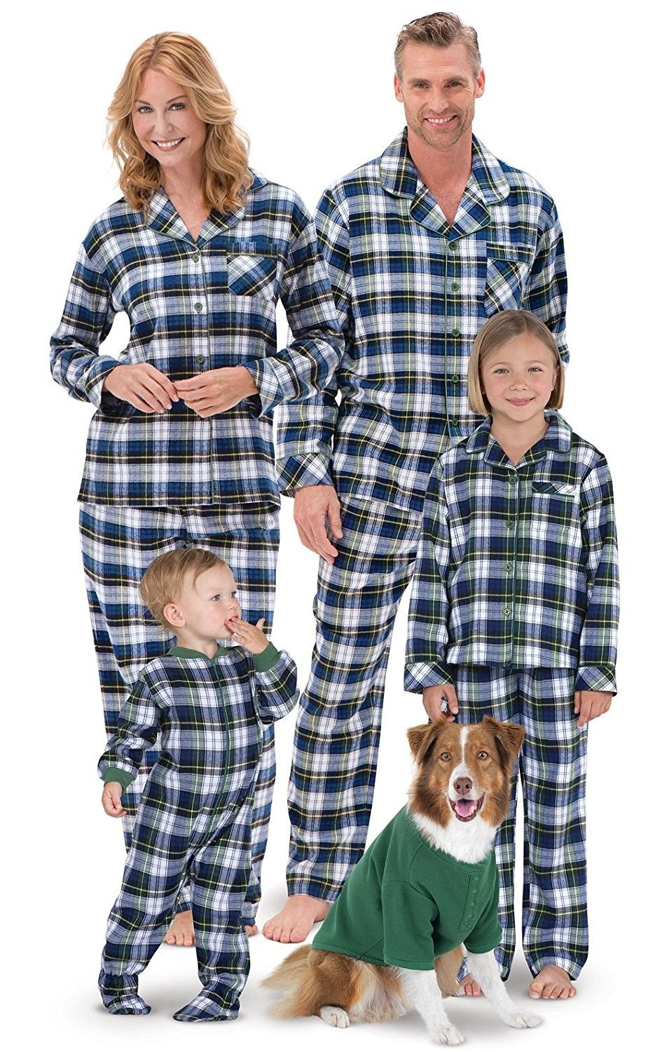 Flannel Tartan Plaid Button-Front Matching Family Pajamas- Green ... 147dcde9e