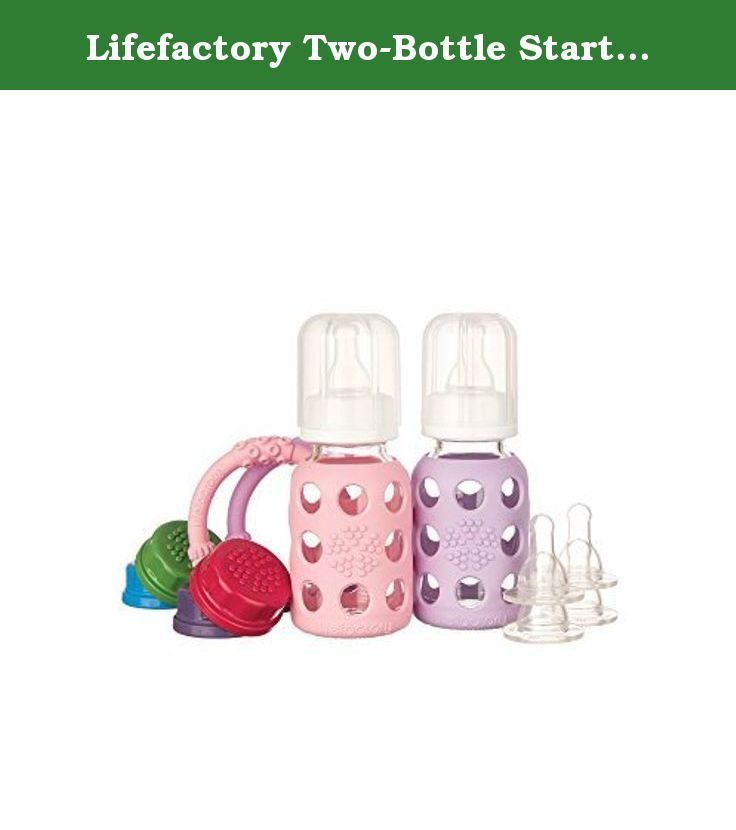 Lifefactory Two Bottle Starter Set Pink Lilac 4 Ounce By Lifefactory 2 Bottle Feeding Starter Set With Two 4 Ounce 120 Bottle Glass Bottles Bottle Feeding