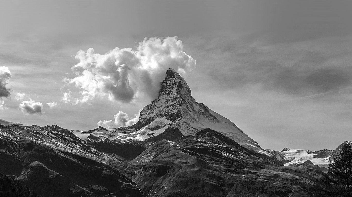 PAPERS.co | desktop wallpaper | mz51-mountain-snow-sky-nature-bw