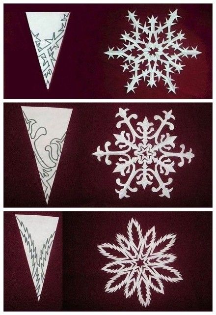 Patterns To Cut Fancy Snowflakes From Folded Paper Snowflakes By