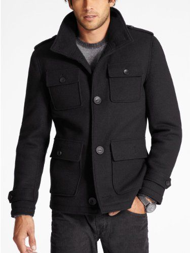 GUESS Men's Boiled Wool Peacoat, JET BLACK (MEDIUM) GUESS,http ...