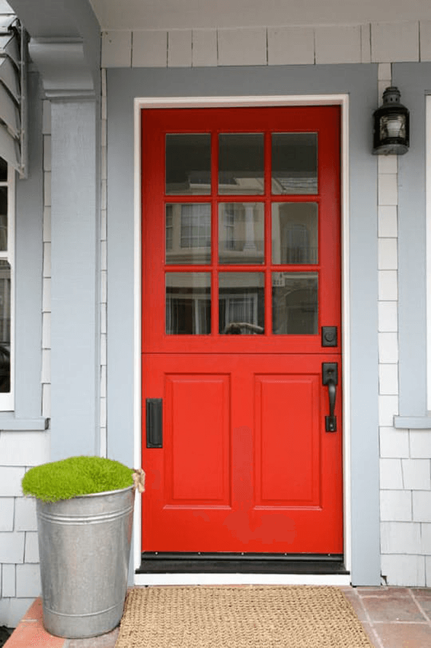 Bright Red Front Door Pantone Flame Black Hardware