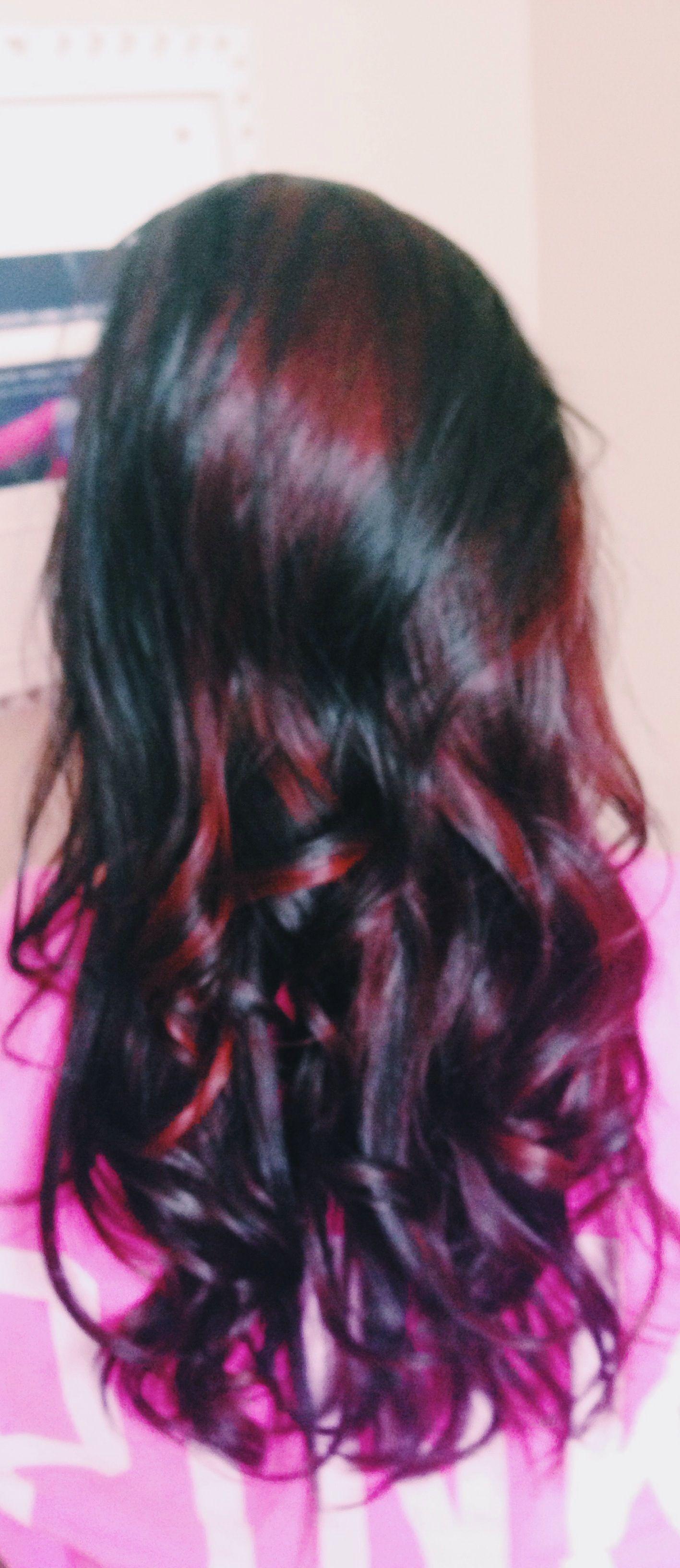 Dark brown with peekaboo bright red highlights hair nails dark brown with peekaboo bright red highlights pmusecretfo Images