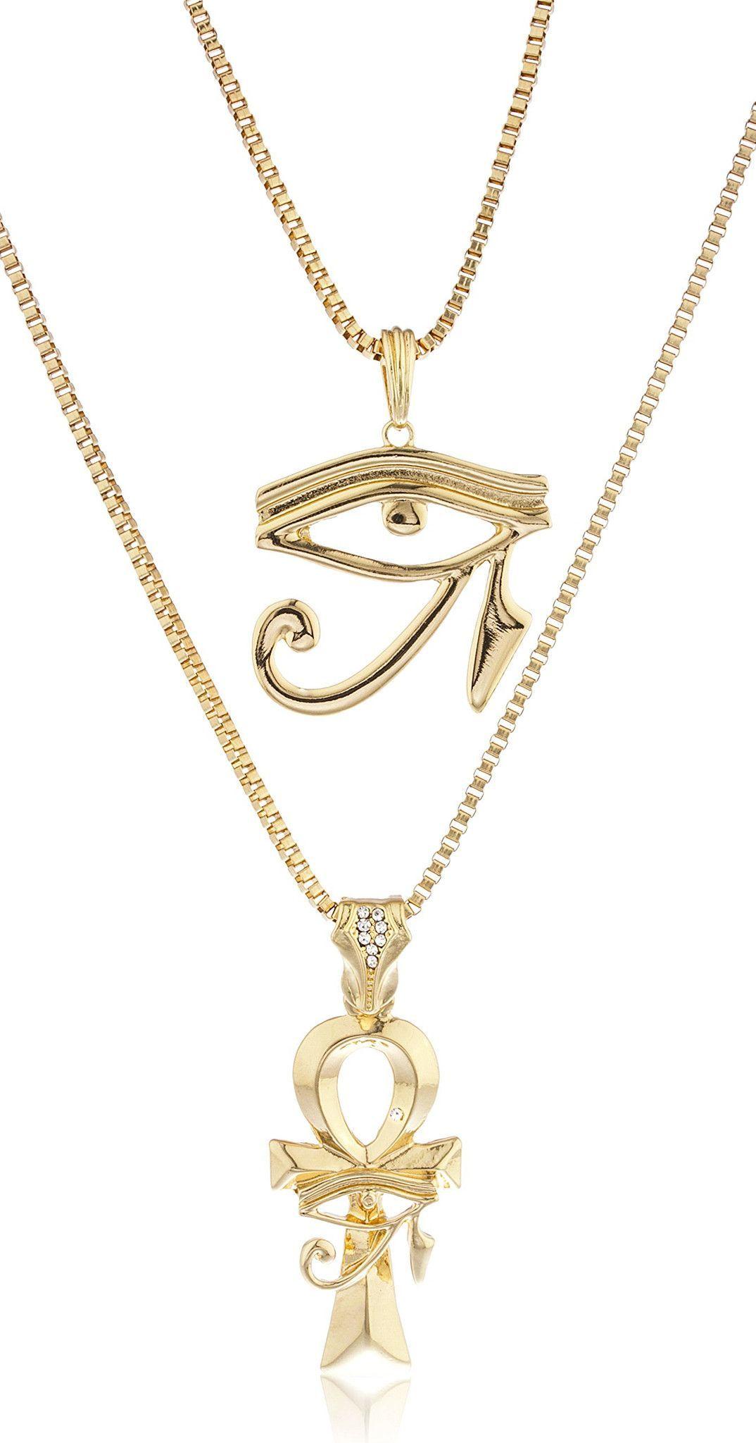 14K White Gold Over Eye of Horus Magical Fashion Pendant Necklace