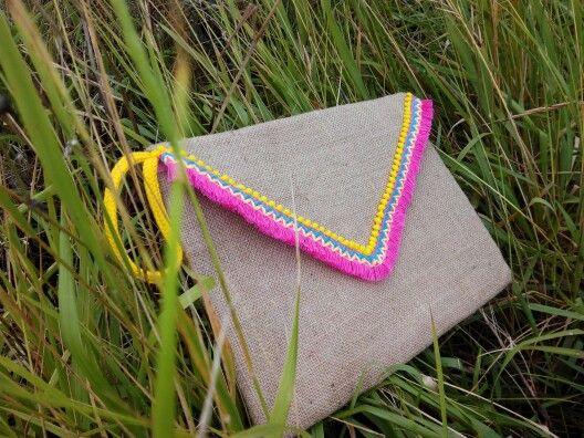 Tendencia de temporada la arpillera bolso tipo sobre en color natural hecho en casa d enlace - Bolsos de tela hechos en casa ...