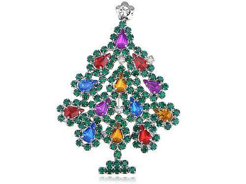 Colourful Crystal Rhinestone Red Yellow Green Festive Christmas Tree Pin Brooch Alilang. $7.99