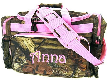 Personalized Duffle Bag Mossy Oak Camouflage. But with blue trim ...