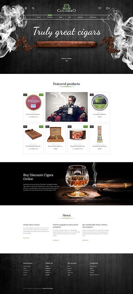 Original Premium Cigars Online Store Shopify Template Themes - Shopify website templates
