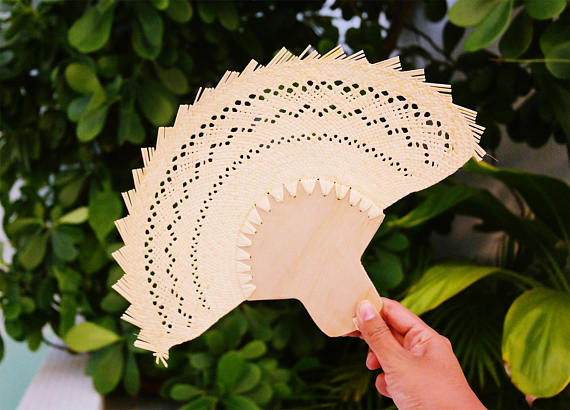 Palm personalized hand fans  wooden fan  traditional mexican wedding favors  custom hand fans wedding