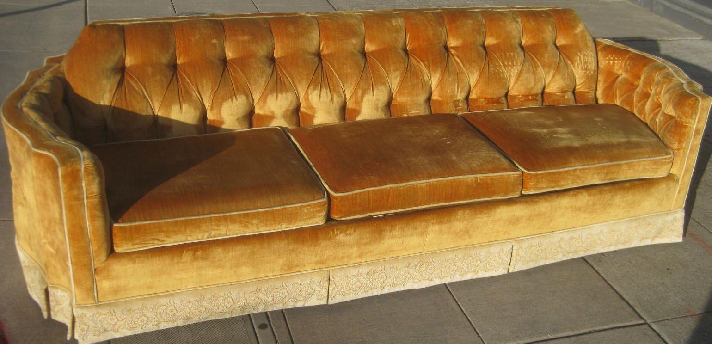 Vintage Velvet Gold Couch R Amp D 70s Crushed Velvet Sofa