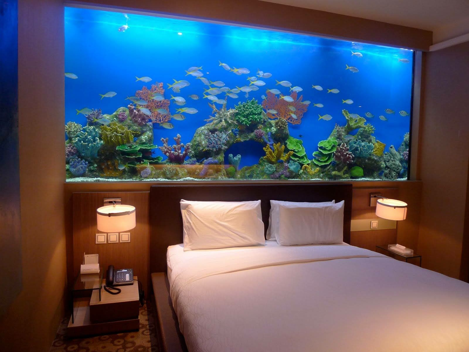 Fish tank bedroom furniture - Fishtank Bed Head Looks Amazing