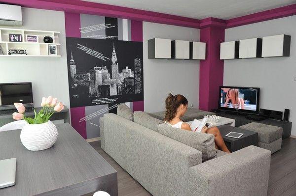 grey magenta fuchsia pink purple open concept living room dining