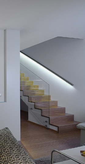 Osvetleni schodiste v zabradli - nepusobi invazivne, ale naopak velice skryte.