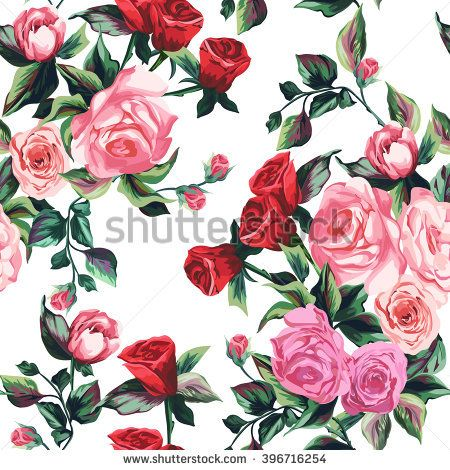 Spring pattern with big roses on a white background