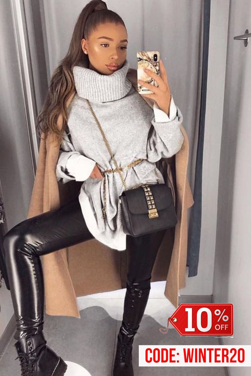 Women's Leather Pants Casual Winter Fashion Outfit